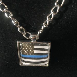 Jewelry - Thin Blue Line cabachon necklace Handmade!!